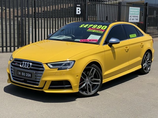 Used Audi S3 8V MY17 S Tronic Quattro, 2016 Audi S3 8V MY17 S Tronic Quattro Yellow 7 Speed Sports Automatic Dual Clutch Sedan