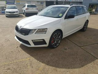 2019 Skoda Octavia NE MY19 RS DSG 245 Moon White 7 Speed Sports Automatic Dual Clutch Wagon.