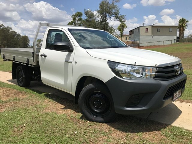 Used Toyota Hilux GUN122R Workmate, 2016 Toyota Hilux GUN122R Workmate Glacier White 5 Speed Manual Cab Chassis