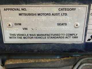 2007 Mitsubishi Lancer CH MY07 LS Blue 5 Speed Manual Sedan