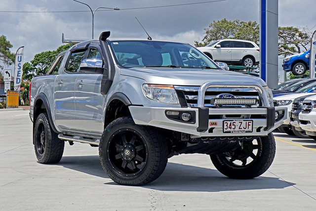 Used Ford Ranger PX XLT Double Cab, 2013 Ford Ranger PX XLT Double Cab Highlight Silver 6 Speed Sports Automatic Utility