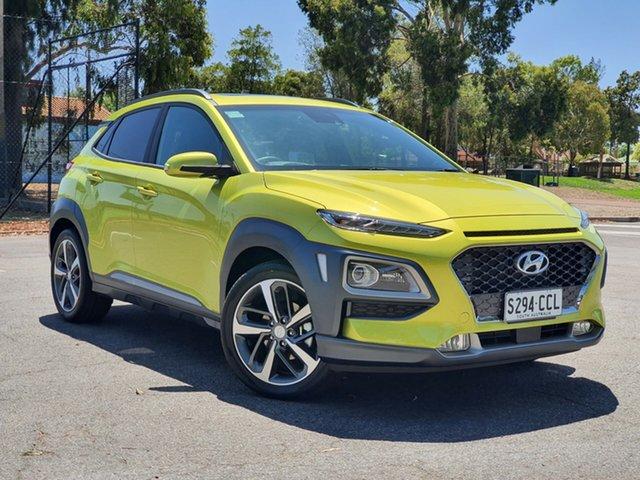 Demo Hyundai Kona OS.3 MY20 Highlander 2WD, 2019 Hyundai Kona OS.3 MY20 Highlander 2WD Acid Yellow 6 Speed Sports Automatic Wagon