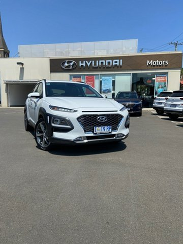 Demo Hyundai Kona OS.3 MY20 Highlander 2WD, 2019 Hyundai Kona OS.3 MY20 Highlander 2WD Chalk White 6 Speed Sports Automatic Wagon