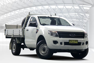 2014 Ford Ranger PX XL 4x2 Hi-Rider White 6 Speed Sports Automatic Cab Chassis.