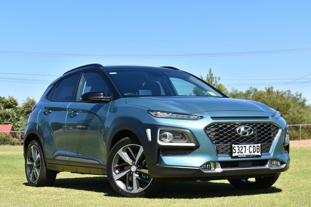Demo Hyundai Kona OS.3 MY20 Highlander D-CT AWD, 2019 Hyundai Kona OS.3 MY20 Highlander D-CT AWD Ceramic Blue & Black Roof 7 Speed