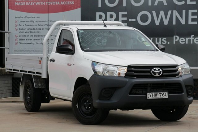 Used Toyota Hilux TGN121R MY19 Workmate, 2018 Toyota Hilux TGN121R MY19 Workmate White 6 Speed Automatic Cab Chassis