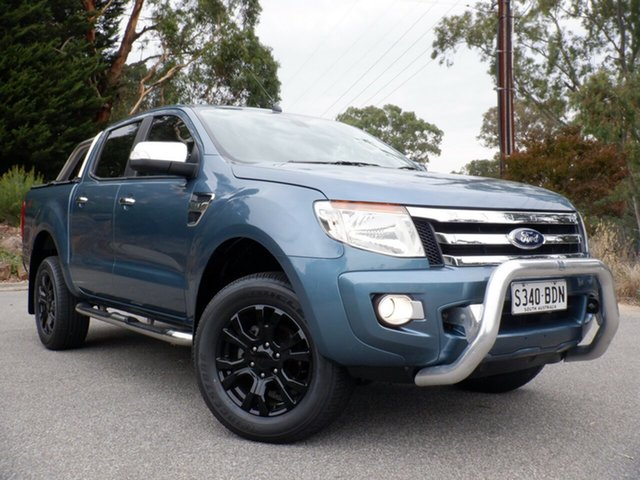 Used Ford Ranger PX XLT Double Cab, 2014 Ford Ranger PX XLT Double Cab Gunmetal Blue 6 Speed Sports Automatic Utility