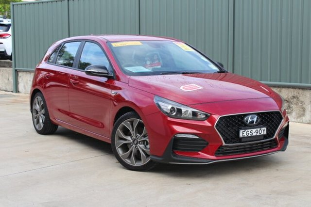 Demo Hyundai i30 PD.3 MY19 N Line D-CT, 2019 Hyundai i30 PD.3 MY19 N Line D-CT Fiery Red 7 Speed Sports Automatic Dual Clutch Hatchback