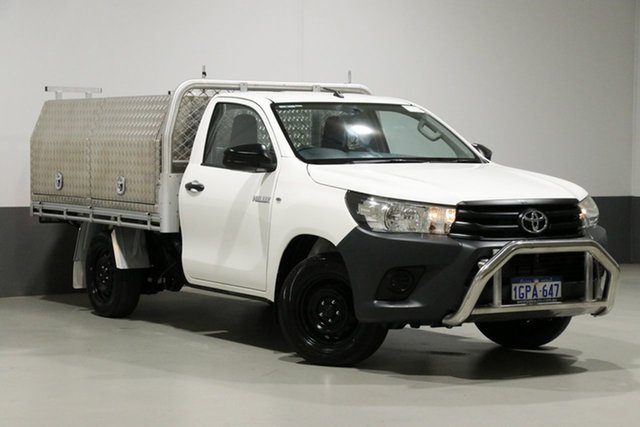 Used Toyota Hilux TGN121R MY17 Workmate, 2018 Toyota Hilux TGN121R MY17 Workmate White 6 Speed Automatic Cab Chassis