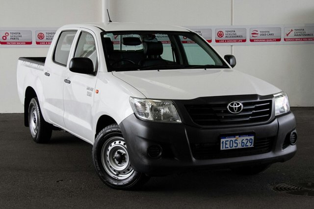 Used Toyota Hilux TGN16R MY14 Workmate Double Cab 4x2, 2014 Toyota Hilux TGN16R MY14 Workmate Double Cab 4x2 Glacier White 4 Speed Automatic Utility