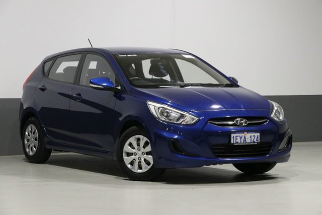 Used Hyundai Accent RB3 MY16 Active, 2015 Hyundai Accent RB3 MY16 Active Blue 6 Speed CVT Auto Sequential Hatchback