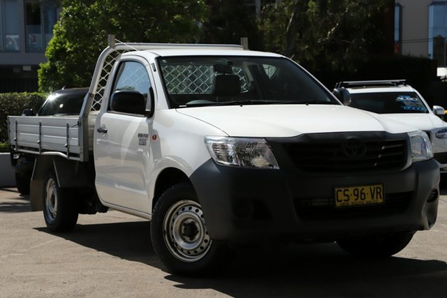 Used Toyota Hilux TGN16R MY14 Workmate, 2015 Toyota Hilux TGN16R MY14 Workmate White 5 Speed Manual Cab Chassis
