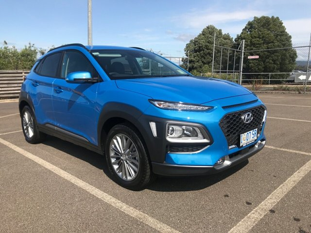Demo Hyundai Kona OS.3 MY20 Elite D-CT AWD, 2019 Hyundai Kona OS.3 MY20 Elite D-CT AWD Blue Lagoon 7 Speed Sports Automatic Dual Clutch Wagon