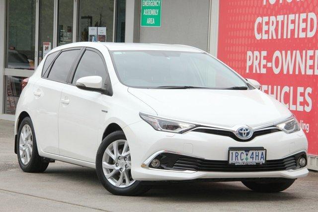 Used Toyota Corolla ZWE186R Hybrid E-CVT, 2016 Toyota Corolla ZWE186R Hybrid E-CVT Glacier White 1 Speed Constant Variable Hatchback Hybrid