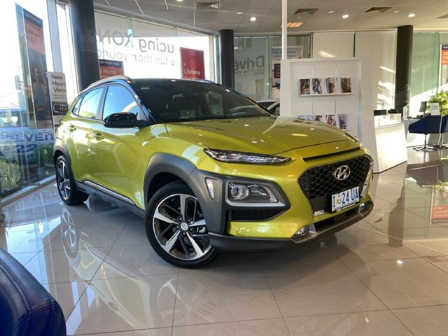 Demo Hyundai Kona OS.3 MY20 Highlander 2WD, 2019 Hyundai Kona OS.3 MY20 Highlander 2WD Acid Yellow & Black Roof 6 Speed Sports Automatic Wagon