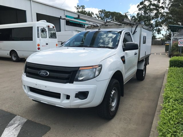 Used Ford Ranger PX XL, 2013 Ford Ranger PX XL Cool White 6 speed Manual Cab Chassis