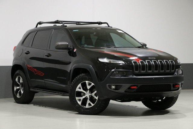 Used Jeep Cherokee KL MY15 Trailhawk (4x4), 2015 Jeep Cherokee KL MY15 Trailhawk (4x4) Black 9 Speed Automatic Wagon