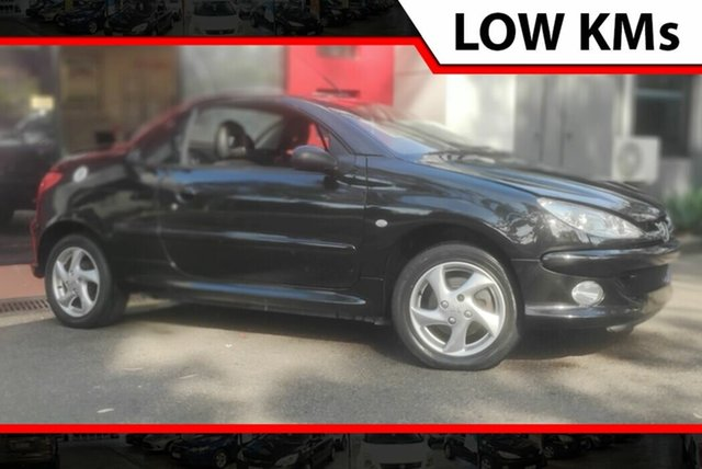 Used Peugeot 206 T1 MY03 CC, 2003 Peugeot 206 T1 MY03 CC Black 4 Speed Automatic Cabriolet