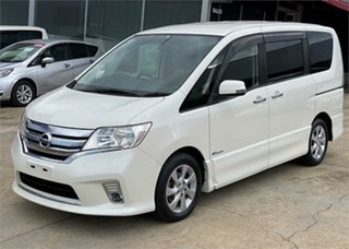 2013 Nissan Serena Highway Star HIBRID White Automatic Wagon.