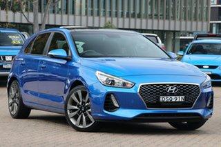 2017 Hyundai i30 PD SR (Sunroof) Marina Blue 6 Speed Manual Hatchback.