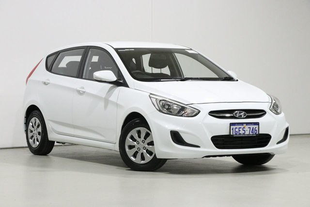 Demo Hyundai Accent RB4 MY16 Active, 2016 Hyundai Accent RB4 MY16 Active White 6 Speed CVT Auto Sequential Hatchback