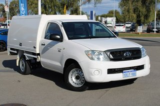 2010 Toyota Hilux TGN16R MY10 Workmate 4x2 White 5 Speed Manual Cab Chassis.
