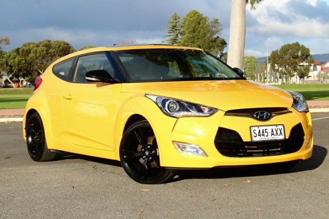 Used Hyundai Veloster FS2 + Coupe D-CT, 2013 Hyundai Veloster FS2 + Coupe D-CT Yellow 6 Speed Sports Automatic Dual Clutch Hatchback