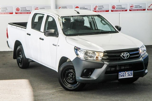 Used Toyota Hilux GUN122R Workmate Double Cab 4x2, 2018 Toyota Hilux GUN122R Workmate Double Cab 4x2 Glacier White 5 Speed Manual Utility