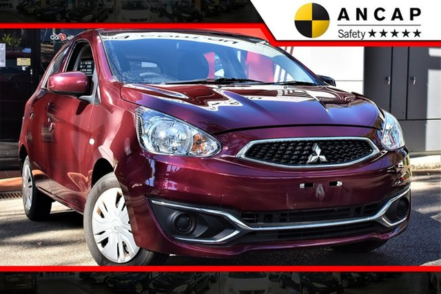 Used Mitsubishi Mirage LA MY19 ES, 2018 Mitsubishi Mirage LA MY19 ES Plum Red 1 Speed Constant Variable Hatchback