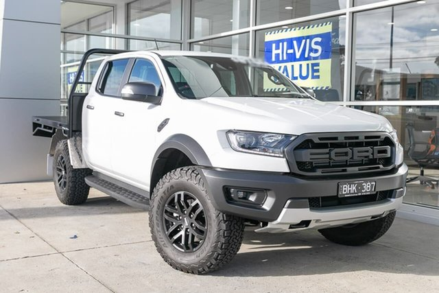 Demo Ford Ranger PX MkIII 2019.75MY Raptor Pick-up Double Cab, 2019 Ford Ranger PX MkIII 2019.75MY Raptor Pick-up Double Cab White 10 Speed Sports Automatic