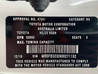 2016 Toyota Hilux Workmate White Sports Automatic Dual Cab Utility