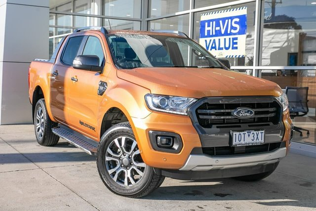 Used Ford Ranger PX MkIII 2019.00MY Wildtrak Pick-up Double Cab, 2018 Ford Ranger PX MkIII 2019.00MY Wildtrak Pick-up Double Cab Orange 6 Speed Sports Automatic