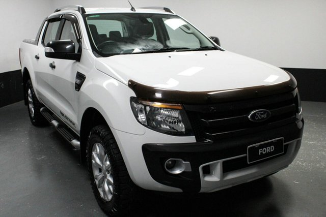 Used Ford Ranger PX Wildtrak Double Cab, 2014 Ford Ranger PX Wildtrak Double Cab Cool White 6 Speed Manual Utility