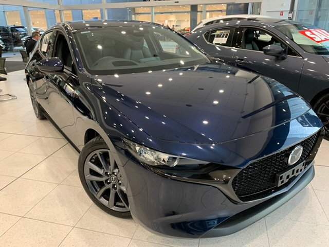 Demo Mazda 3 BP2HLA G25 SKYACTIV-Drive GT, 2019 Mazda 3 BP2HLA G25 SKYACTIV-Drive GT Deep Crystal Blue 6 Speed Sports Automatic Hatchback