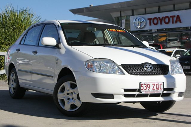 Used Toyota Corolla ZZE122R 5Y Ascent, 2004 Toyota Corolla ZZE122R 5Y Ascent Glacier White 5 Speed Manual Sedan