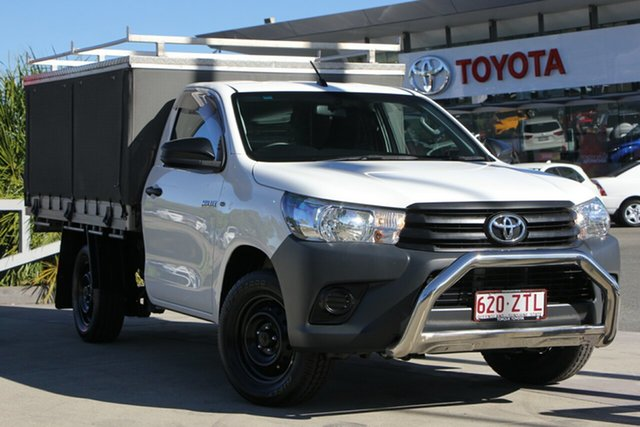 Used Toyota Hilux TGN121R Workmate 4x2, 2016 Toyota Hilux TGN121R Workmate 4x2 Glacier White 5 Speed Manual Cab Chassis