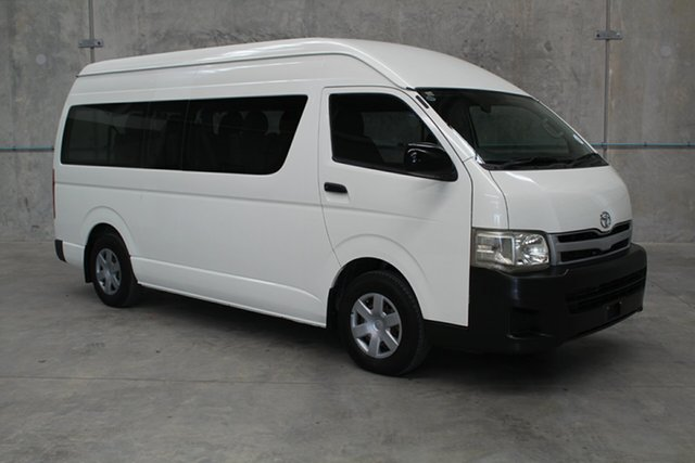 Used Toyota HiAce KDH223R MY11 Commuter High Roof Super LWB, 2010 Toyota HiAce KDH223R MY11 Commuter High Roof Super LWB White 4 speed Automatic Bus