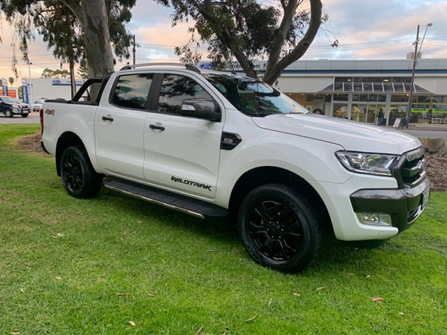 Used Ford Ranger PX MkII Wildtrak Double Cab, 2016 Ford Ranger PX MkII Wildtrak Double Cab Cool White 6 Speed Sports Automatic Utility