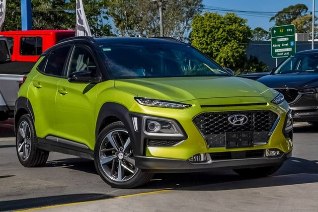 Used Hyundai Kona OS.2 MY19 Highlander D-CT AWD, 2019 Hyundai Kona OS.2 MY19 Highlander D-CT AWD Acid Yellow 7 Speed Sports Automatic Dual Clutch