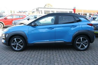 2019 Hyundai Kona OS.3 MY20 Highlander TTR (AWD) Blue Lagoon & Black Roof 7 Speed Auto Dual Clutch