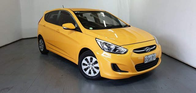 Used Hyundai Accent RB3 MY16 Active, 2015 Hyundai Accent RB3 MY16 Active Yellow 6 Speed Constant Variable Hatchback