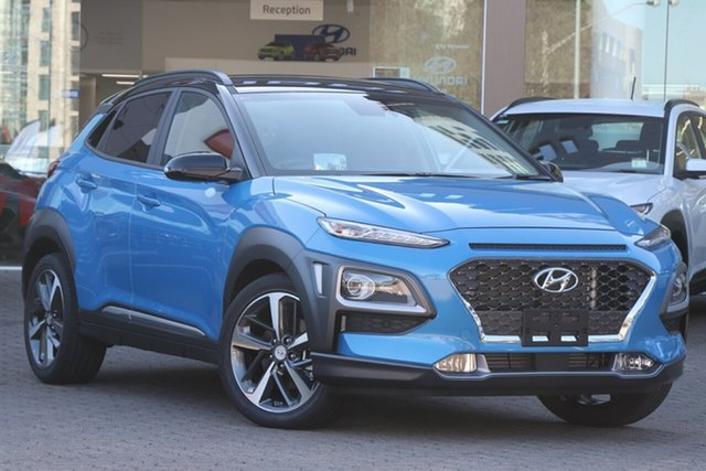 New Hyundai Kona OS.3 MY20 Highlander TTR (AWD), 2019 Hyundai Kona OS.3 MY20 Highlander TTR (AWD) Blue Lagoon & Black Roof 7 Speed Auto Dual Clutch
