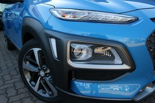 2019 Hyundai Kona OS.3 MY20 Highlander TTR (AWD) Blue Lagoon & Black Roof 7 Speed Auto Dual Clutch.