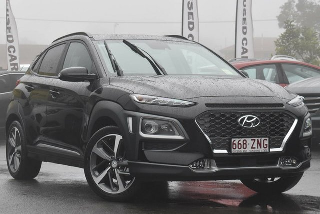 Demo Hyundai Kona OS.3 MY20 Highlander 2WD Toowoomba, 2019 Hyundai Kona OS.3 MY20 Highlander 2WD Phantom Black 6 Speed Sports Automatic Wagon