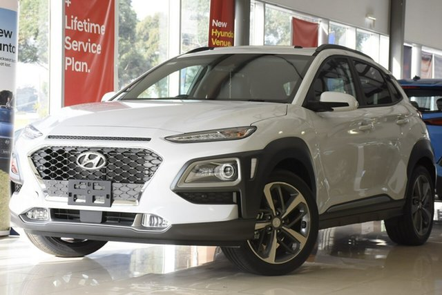 New Hyundai Kona OS.3 MY20 Highlander S.Roof (AWD), 2020 Hyundai Kona OS.3 MY20 Highlander S.Roof (AWD) Chalk White 7 Speed Auto Dual Clutch Wagon