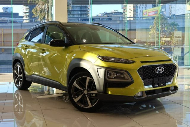 New Hyundai Kona OS.3 MY20 Highlander TTR YEL (FWD), 2020 Hyundai Kona OS.3 MY20 Highlander TTR YEL (FWD) Acid Yellow & Black Roof 6 Speed Automatic