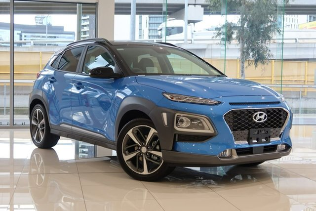 New Hyundai Kona OS.3 MY20 Highlander TTR (FWD), 2020 Hyundai Kona OS.3 MY20 Highlander TTR (FWD) Blue Lagoon & Black Roof 6 Speed Automatic Wagon