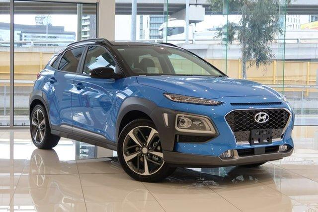 New Hyundai Kona OS.3 MY20 Highlander TTR (FWD) South Melbourne, 2020 Hyundai Kona OS.3 MY20 Highlander TTR (FWD) Blue Lagoon & Black Roof 6 Speed Automatic Wagon
