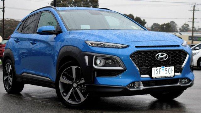 Demo Hyundai Kona OS.3 MY20 Highlander 2WD, 2019 Hyundai Kona OS.3 MY20 Highlander 2WD Blue Lagoon 6 Speed Sports Automatic Wagon