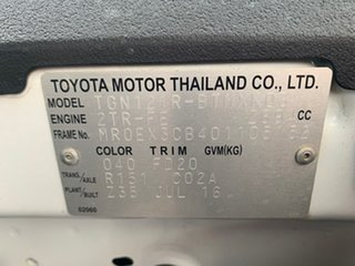 2016 Toyota Hilux Workmate White Manual Cab Chassis - Single Cab